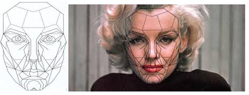 """Máscara De Marquardt (""""the perfect face"""" proporciones divinas de belleza para proyecto de arte)."""